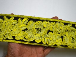 "3"" Neon Green Sewing Lace Costume Embroidery Trimming  Indian Fabric Trim By The Yard Crafting Border Decorative Embroidered Saree Border beautiful Lace For Wedding Wear And Dresses."