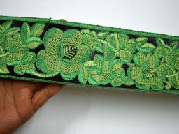 Green embroidered designer trim by the yard beautiful stunning ribbon christmas supplies border decorative wedding costume embroidery trimming tape sewing clothing accessories
