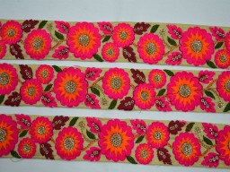1.5 Inch wide Wholesale Hot Pink Embroidery Saree Craft Ribbon Trimmings Indian Laces Sari Border Fabric Trim By 9 Yard Embroidered Decorative Ribbon Hot Pink Orange Green Maroon Gold Embroidered designer Trims