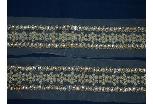 2 Inch wide Wholesale Metallic Ribbon Indian trim Sari Border Trims by 9 Yard Gold Sari Kundan Lace Trimmings Embellishment Crafting Ribbon Sewing Laces