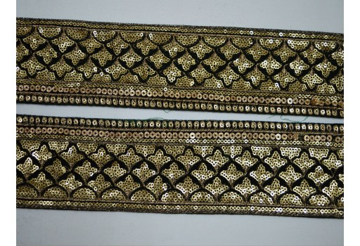 Bottle Green Saree Border Velvet Fabric Laces and Trims Indian Embroidered Trimmings Ribbon Indian Sari Border gold Trim By The Yard