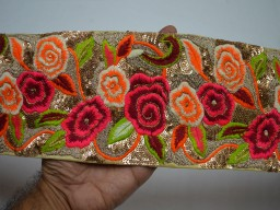 4.6 Inch wide Pink Fabric Trim and Embellishment Embroidered Indian Sequences Trim By The Yard Saree Ribbon Wholesale Silk Sari Border Decorative Sewing Crafting Laces