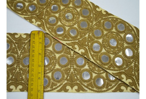 3 Inch wide Beige Camel color Saree Ribbon Silk Sari Border Decorative Sewing Crafting Wholesale Beige Fabric Trim and Embellishment Embroidered Indian Trim By 9 Yard