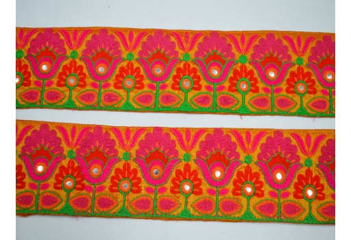 Magenta Silk Sari Border Decorative Sewing Crafting Embroidered Indian Trim By The Yard beautiful Lace for dresses Embroidery designer Trims on Orange Fabric