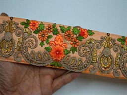 3 Inch Peach Embroidered Trimmings Ribbon Indian Sari Border Crafting Sewing Saree Border Fabric Trim By The Yard Orange Floral Lace For Dresses