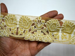 "2.5"" Wholesale Crafting Ribbon Decorative Indian Trim by 9 yard Ivory Embroidered Saree Border Fabric trims and embellishments Sari Laces"