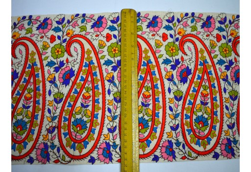11'' Paisley Indian Laces and Trims Ribbon Wholesale Trimmings Indian Sari Border Crafting Sewing Embroidered Saree Border Fabric Trim By The Yard