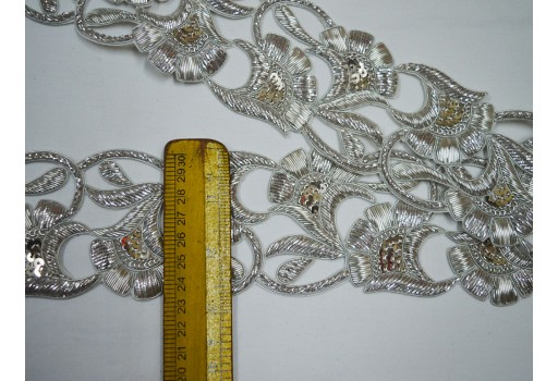 Wholesale zardosi wedding dresses border decorative silver handcrafted trim by 9 yard crafting ribbon indian embroidery sari trimmings for classy dresses