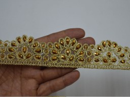 Decorative Costume trim Crafting Ribbon Tape Stone Work Sari Border Trim by 2 Yard Sewing Embellishment Border Gold Kundan Trims For Festive Wear Stunning Lace