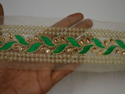Green Gold Kundan Lace Saree Border Ribbon and Trims Stone Work Border Embellishment Trim by the Yard Decorative Designer Laces Stylish Borders For Festive Wear