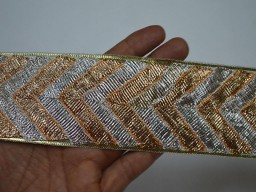 Decorative Gold Silver Gota Trim by 2 yard Sari border Indian Trim lace Traditional Metallic Decorative Saree Border ribbon gift wrap Crafting Sewing borders for decoration Trims For Christmas