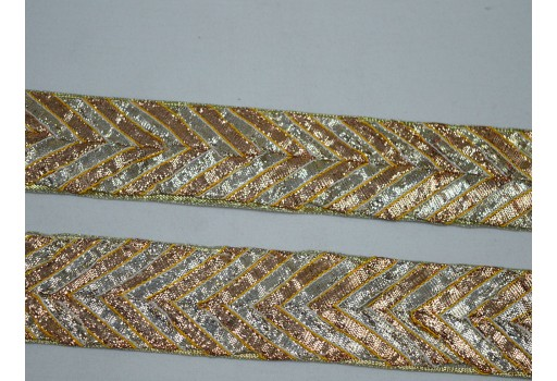 "1.5"" Traditional Gold Silver Gota Trim by 2 yard Sari border Indian Trim Metallic Decorative Saree Border ribbon gift wrap Crafting Sewing Decorative rajasthani gota pati lace  Trims For Decoration"