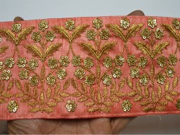 3.7 inches Peach Embroidered Saree Border Fabric Trim By The Yard Indian Laces and Trims Wholesale Trimmings Ribbon Indian Sari Border gold indian Sequins Work Trims For Designer Dresses