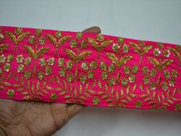 3.7 Inch Magenta Embroidered Saree Border Fabric Trim By The Yard Indian Laces and Trims Gold sequins Trimmings Embroidery Designer Trims Ribbon Indian Sari Border Christmas Laces