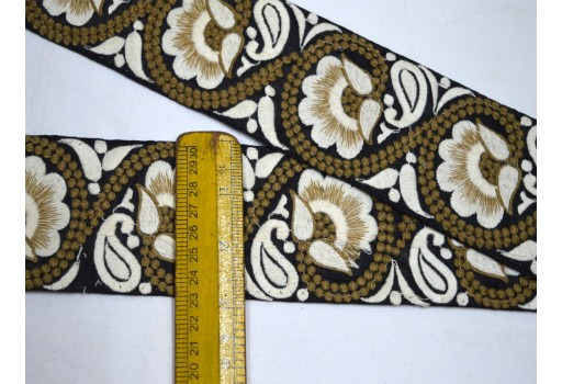 3 Inch Black Embroidered Saree Trim Laces Costume trim Crafting Sewing Indian Fabric Trimmings Decorative Sari Border Trim By The Yard Fashion tape Decorative Floral Ribbon For Embellishment