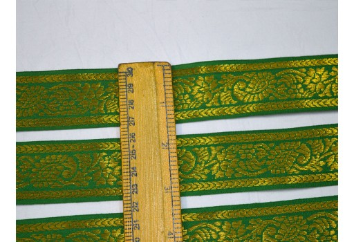 Brocade jacquard trimming green gold metallic trim woven saree border by 9 yard sewing and crafting south dress wholesale costume designing festive wear for lehengas craft supplies ribbon