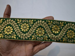 "2.3"" Green Jacquard Trim By 3 Yard Saree Border Lace Designing Ribbon Decorative Crafting Sewing Trim Costumes Indian Sari Border Floral Pattern Lace Brocade Jacquard Ribbon For Lehenga"