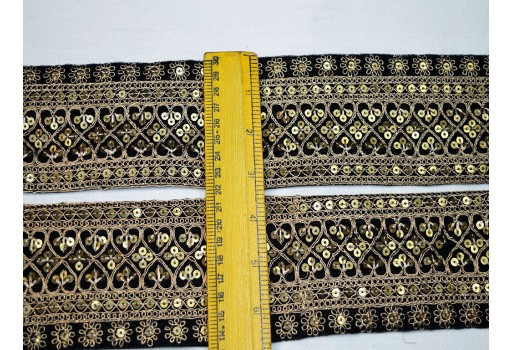 3.2 inch Black Indian Embroidery Designer Fabric Trims On Black Color Velvet Fabric Embroidered Laces and Trims Saree Border Fabric Trim By The Yard Decorative Trimmings Gold Sequins Ribbon Sari Border Crafting Sewing Lace