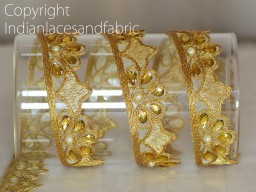 Wholesale gold kundan beaded trim metallic ribbon costume designing festive wear for lehengas fashionable laces by 9 yard embellishments traditional mirror work border crafting dresses sewing trimmings