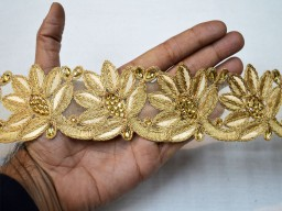 2 Inches Embroidery Floral Trim Crafting Ribbon Beige Gold Decorative Indian Trim By The Yard Saree Border Fabric Trims Embellishments Sari Border Dress Making Decorative Borders Clothing Accessories