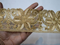 "3"" Saree Border Embroidery Trim Crafting Ribbon Beige Gold Decorative Indian Trim By The yard Fabric Trim Embellishments Wedding Dresses Border Crafting Sewing Online Kundan Floral Trims"