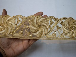 "Boutique Material 3"" Decorative Indian Trim By The yard Saree Border Embroidered Crafting Ribbon Beige Gold Fabric Trims Embellishments Dresses Border Christmas Supplies Home Decor"