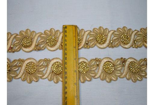 Wholesale designer fashionable decorative trim by 9 yard crafting ribbon beige gold floral saree border embellishments for wedding dupattas festive wear for lehengas beautiful stunning wedding dresses craft supplies