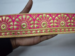 Organza fabric laces wholesale magenta gold sari border decorative ribbon jacquard trim by 9 yard trimming crafting sewing home decor christmas supplies costume designing festive wear for lehengas embellishments wedding dresses