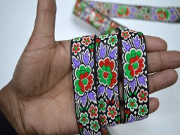 Wholesale fancy floral lavender jacquard trims by 9 yard crafting laces sewing trimming book binding embellishment decorative dresses border festive wear for lehengas craft ribbon used for jewelry making