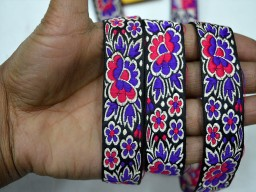 Pink jacquard roses designer trims by 4 yard blue on black base christmas supplies embellishments decorative crafting ribbon beautiful lace can be used for designing stylish blouses