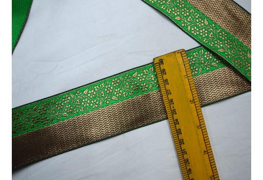 2.2 inch wide green jacquard decorative embellishments crafting ribbon christmas supplies costume sewing laces woven fabric trim by 3 yard beautiful lace can be used for designing stylish tunics