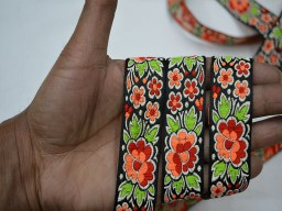 1 inch wide stunning crazy quilting fancy decorative jacquard floral design christmas supplies embellishments crafting ribbon trim by 4 yard neon green and peach on black base trimmings for purses