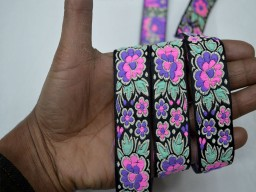 Jacquard designer roses by 9 yard in pink lilac mint green wholesale floral crafting laces sari border for making home décor items designer sewing trimming festive wear for lehengas decorative ribbon