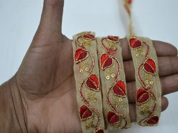 Red embroidery decorative embellishments crafting ribbon christmas supplies costume sewing laces home decor embroidered on organza fabric trim by 4 yard