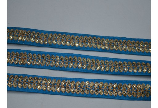 Turquoise blue and gold embroidered designer christmas supplies trims by 2 yard on silk fabric embellishments crafting ribbon home decor clothing accessories fashion tape trimmings