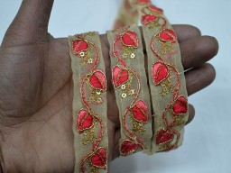 Coral red decorative trim by 4 yard 0.8 inch embroidered embellishments crafting ribbon home decor clothing accessories christmas supplies for fancy designing stylish blouses