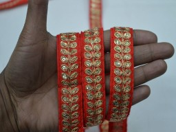 Beautiful kundan trims by 9 yard wholesale decorative fabric lace red golden thread embroidery trimmings crazy quilting organza fabric sari border wedding wear and dresses crafting sewing tape embellishments