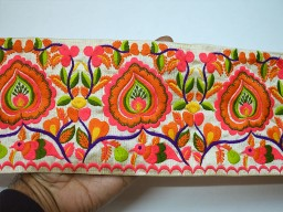 5 inch beautiful hot pink and neon orange embroidered floral design on ivory silk fabric decorative sewing crafting trim by the yard embellishment fancy clothing accessories home decor for clutches