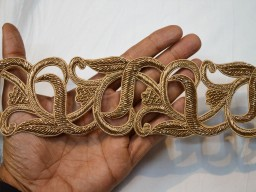 Decorative zardosi gold handcrafted trim by the yard chirstmas supplies trimming metallic thread embroidered festive mood borders for making bridal shoes