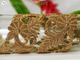 Gold exclusive trim by the yard cut beads and metallic thread different design trimmings handcrafted zardosi fancy trims for wedding wear and dresses