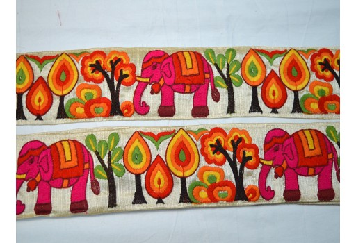 2.5 inch orange embroidered elephant designer trims by the yard on ivory silk fabric christmas supplies home decor embellishments decorative crafting ribbon for designing stylish blouses