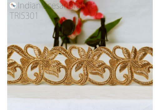 Wholesale zardosi lehenga border exclusive gold trim by 9 yard bohemian ethnic wear tunics crafting ribbon christmas handcrafted costume border embroidered laces home decor sewing accessories fashion tape