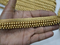 Embellishments 0.8 inch piping beaded designer trim by 4 yard gold finish acrylic craft supplies costumes sewing home decor clothing accessories decorative sari border trimmings