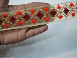 1.5 inch stunning crazy quilting fancy decorative floral design on net fabric christmas supplies home decor red embellishments crafting ribbon trim by 4 yard embroidered trimmings for bags