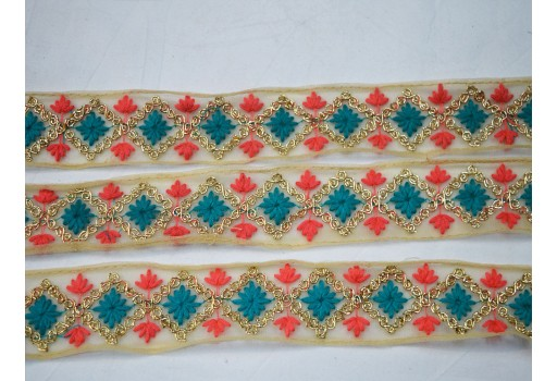 1.5 inch red and teal blue decorative embellishments beautiful crafting ribbon christmas supplies costume sewing laces home decor embroidered on net fabric trim by 4 yard