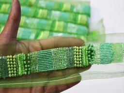 Exclusive beautiful stunning green 1 inch decorative embellishments crafting ribbon designer laces on net fabric craft supplies handmade beaded home decor trim by the yard for clutches