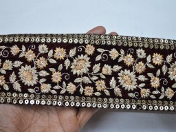 Dull gold embroidered designer fabric trims on maroon color velvet fabric christmas supplies ethnic designer fancy trim by the yard beautiful lace can be used for designing stylish blouses
