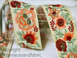 Peach and orange floral design embroidery trims on ivory silk fabric 3 inches wide wholesale decorative border by 9 yard sewing crafting trimming embellishments laces for wedding dresses