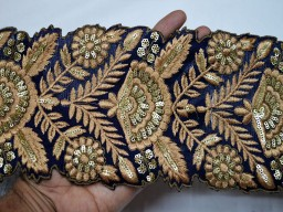 9 Yard gold zari thread and sequins work beautiful embroidery trims on navy blue silk fabric art quilt stunning designing borders for festive wear crafting sewing costume laces