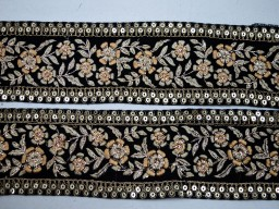 Beautiful black embroidered dresses tape indian decorative laces gown accessories crafting ribbon Christmas home decor trim by the yard floral pattern sewing costume borders boutique material trimming
